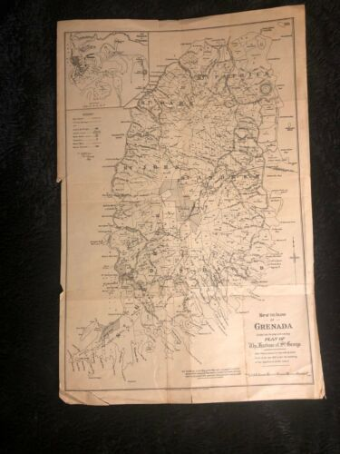 rare Map of the Island of Grenada Divided into Parishes