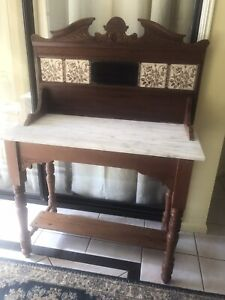 Antique cedar and marble hall table