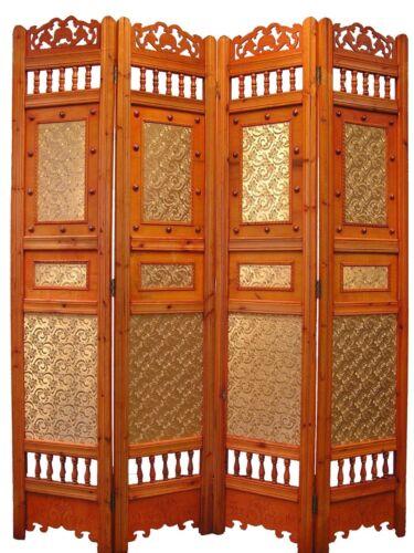Roman Shabby Room Divider Screen 4 Panel Wooden Frame