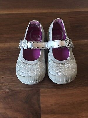 Stride Rite Layla Flowers Shimmery Silver Mary Jane Shoes  ~ Toddler Girls 7