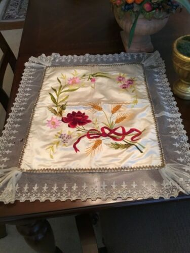 Beautiful Antique Satin Embroidered Pillow Cover