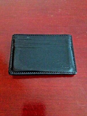 COACH LEATHER BLACK ID/CARD HOLDER AND MONEY CLIP.GREAT CONDITION.MADE IN INDIA