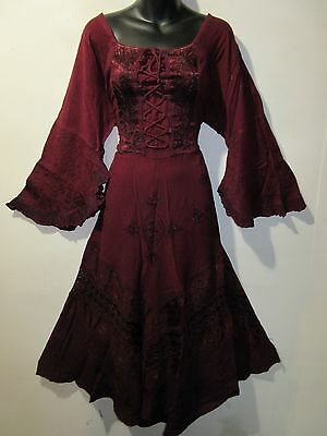 Dress XL 1X Plus Renaissance Burgundy Corset Lace Up Chest Layer Lace Hem 5223](Renaissance Corset)