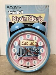 Twin Bell Neon Alarm Clock Eat at Joe's - Best Diner in Town! Ravina Blue -VC005