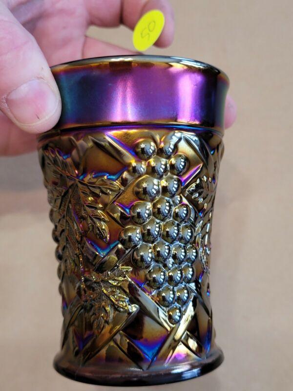 Purple Northwood Carnival Glass Grape Arbor Tumbler Great Color