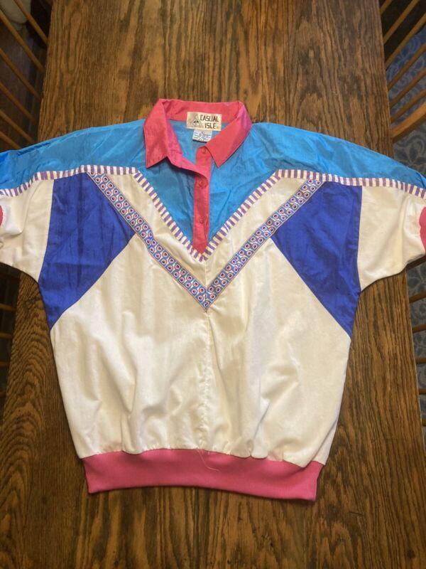 Vintage CASUAL ISLE Windbreaker Track Jacket Large Geometric Colorblock RARE!