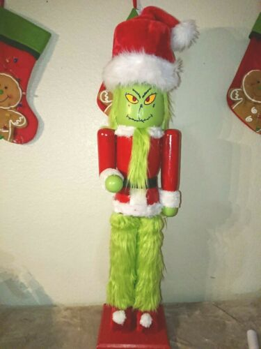 "Large 44"" inches Wood  GRINCH Nutcracker customized  Handmade/hanpainted"