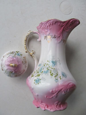 Antique OCCO Limoges France Pink and Gold Porcelain Tea Pot