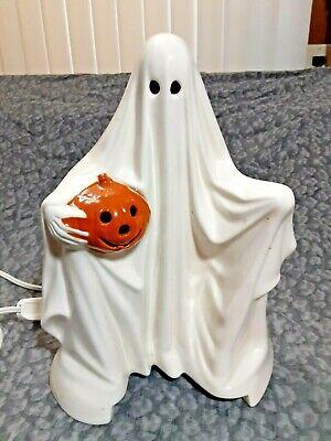 Vintage Ceramic Ghost With Held Pumpkin 1972 Byron Ceramics Mold *WORKS*