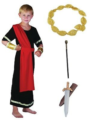 BOYS KIDS ROMAN EMPEROR COSTUME ANCIENT GREEK CAESAR TOGA +OPT - Toga Costume Accessories