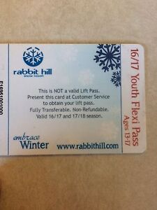 Never used rabbit hill flex pass/$50 gift card