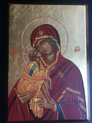 ORTHODOX TRADITIONAL HAND PAINTED ICON THEOTOKOS AND JESUS CHRIST
