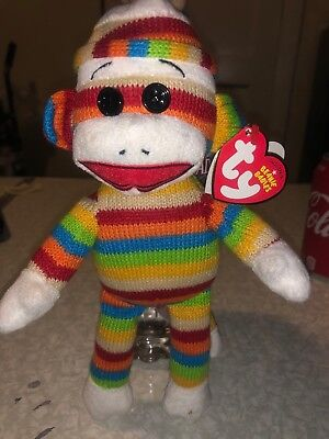 TY BEANIE BABY (STRIPES) - Socks the Sock Monkey. New with Tags. - Baby Sock Monkey