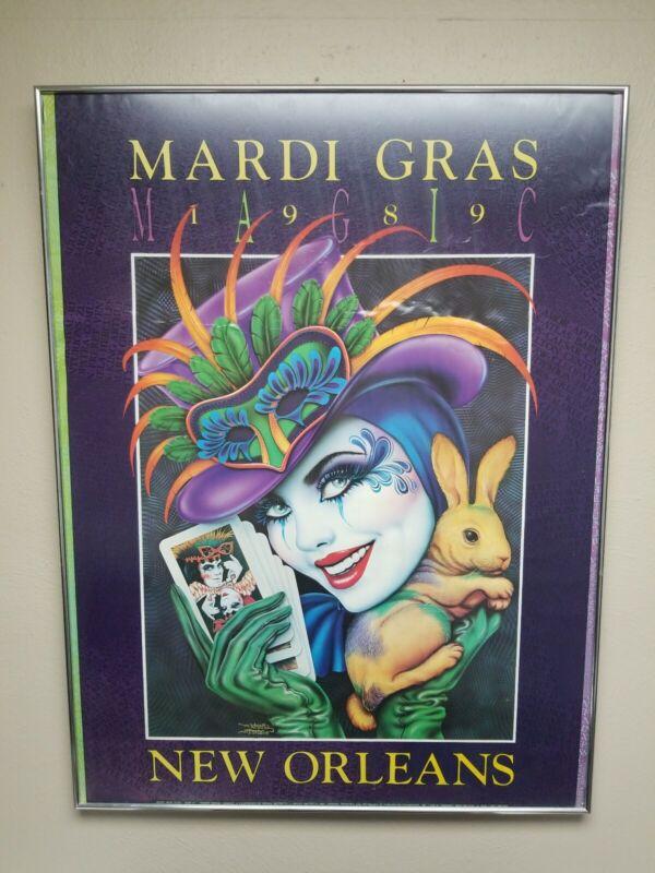RARE Mardi Gras 1989 New Orleans MAGIC Poster Andrea Mistretta Authenticated OG