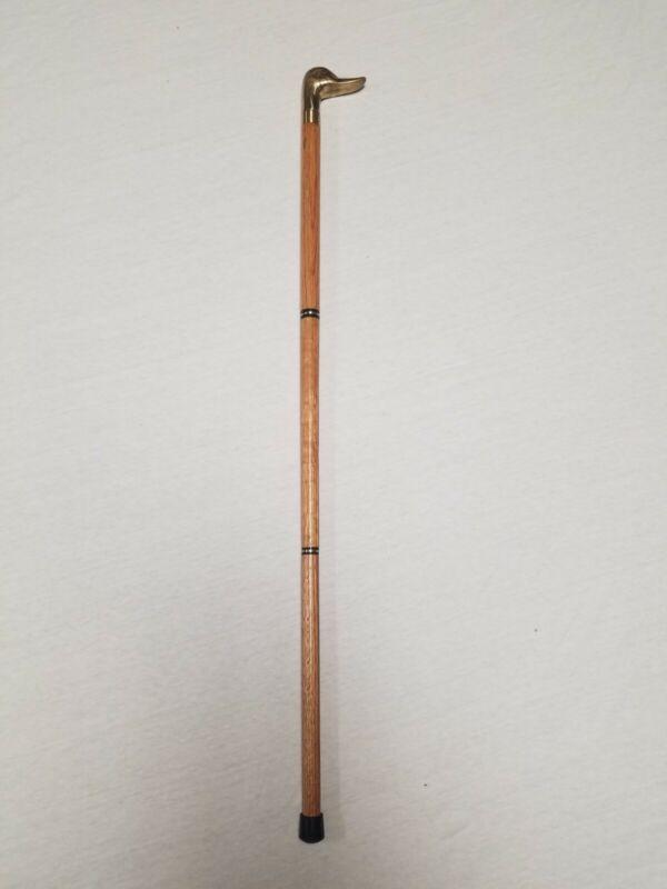Vintage Brass Walking Stick, Duck Head Handle Cane Shaft