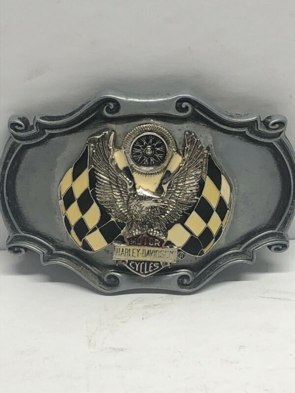 Used HARLEY DAVIDSON belt buckle Robison HD AMF XR750 XR1000 Racing Flag Design