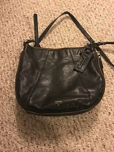 Black Leather Crossbody Fossil Purse