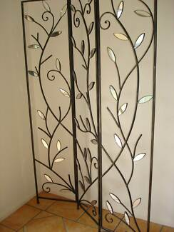 Freestanding wrought iron and mirror screen