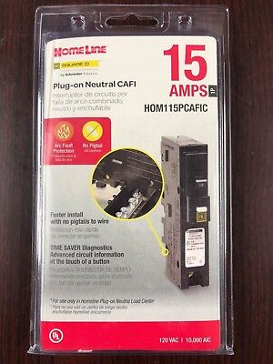 Square D Homeline Hom115pcafic 15a Plug On Neutral Arc-fault Afci Breaker New