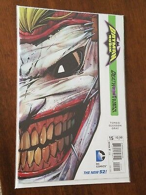 BATMAN & ROBIN #15 (2013) DC new 52 DEATH of the FAMILY JOKER Mask variant NM (Batman And Robin Masks)