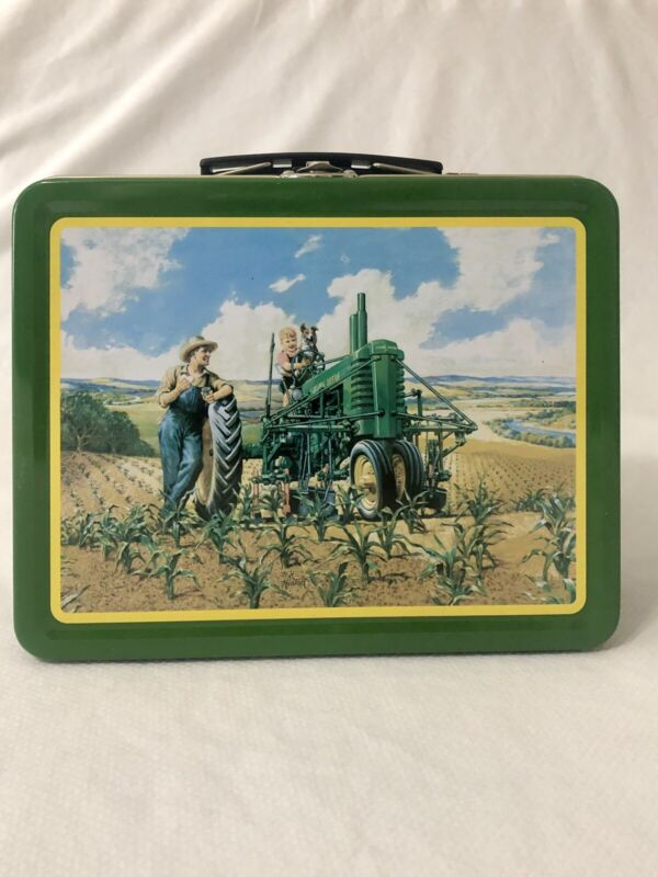 John Deere Tin Metal Lunchbox Tractor Father Son & Dog LUNCHTIME Farm Green