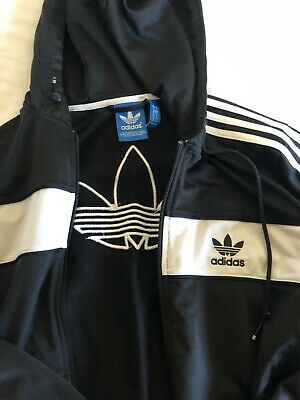 Adidas black and white hoodie jumper zip up M