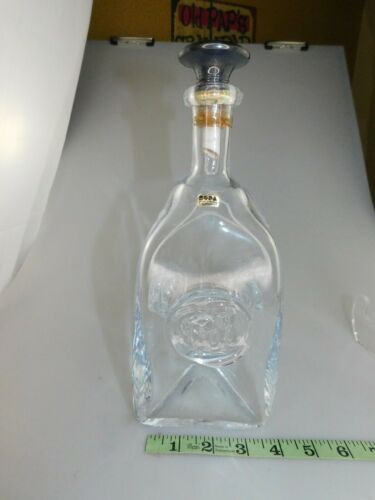 "Erik Hoglund? Sweden Kosta Boda Glass Liquor Decanter W Faces 12"" Tall VINTAGE"