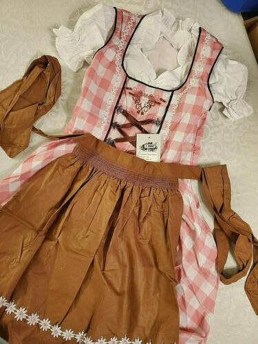 NEW! Girls,Kids,US 8,Germany,Trachten,Oktoberfest,Dirndl Dress,3-pc.Pink,Brown