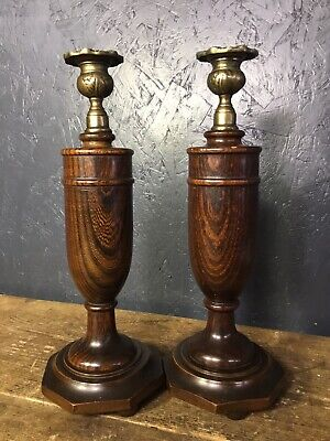 Pair Of Antique Vintage Wooden Candlesticks