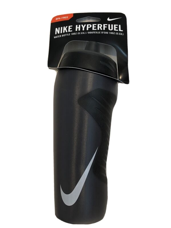 Nike Hyperfuel 18 oz. Squeeze Anthracite Black Water Bottle Workout Gym Outdoor