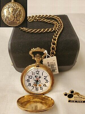 Disney Mickey Mouse Train Conductor Railroad Pocket Watch Embossed Case + PIN