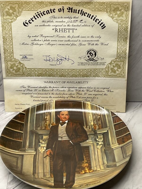 """Rhett """"Gone with the Wind"""" Collector Plate, 4th Issue by Knowles, 1981"""