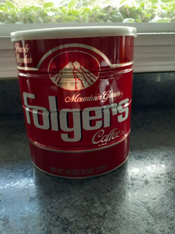 Vintage Folgers Coffee Can Tin Red Mountain Grown 39 oz  Perk & Regular 70