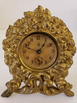 Antique Working 1891 Waterbury Victorian Gilt Cast Iron Mini Mantel Shelf Clock