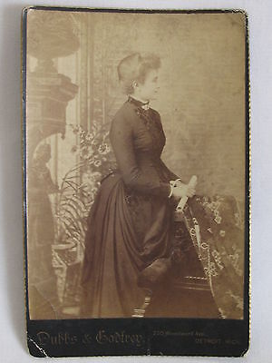 Antique Cabinet Card Old Photo~c1900 Beautiful Woman Lady Standing Black Dress