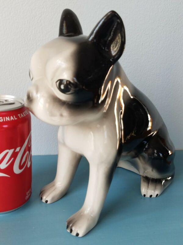 Vintage French Bulldog Boston Terrier Ceramic Piggy Bank Figural Dog Sitting