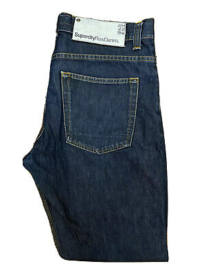 Original Superdry Vintage Straight Leg Indigo Raw Denim Jeans W36 L32 ES 6969