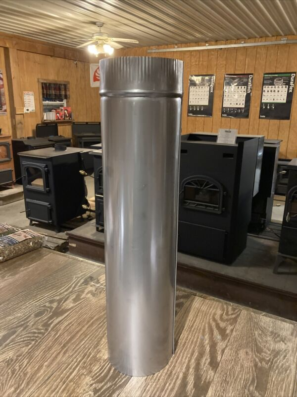 """6""""x24"""" Heavy Duty 316 Stainless Steel Stove Pipe Chimney Made In The USA! 🇺🇸"""