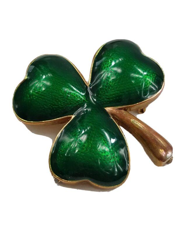 Beautiful Vintage Goldtone Green Enamel 3-Leaf Clover Brooch Pin