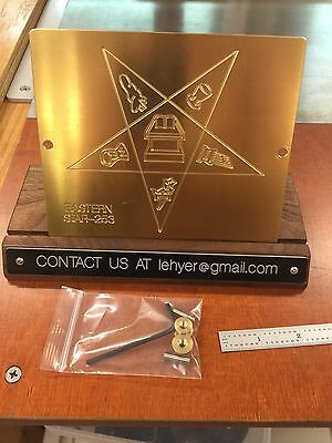 Huge Order Of The Eastern Star Engraving Plate For New Hermes Font Tray