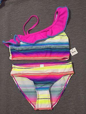 Joe Boxer Girls Ruffle Top Two Piece Bikini Swimsuit - Neon Stripe - Pick