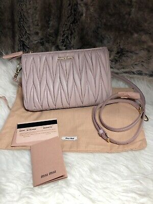 NEW Authentic MIU MIU Double Zip Crossbody Bag Purse In Pink Matelasse Leather