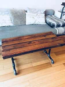 CONDO SIZE COFFEE TABLE VINTAGE RECLAIMED WOOD & STEEL PIPE