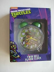 nickelodeon TEENAGE MUTANT NINJA TURTLES TWIN BELL ALARM CLOCK