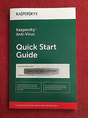 Kaspersky Antivirus Anti Virus 2017 5 Pc  Not 3 Pc  1 Year  Free Fast Ship