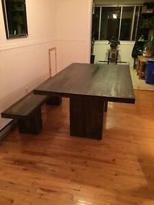 Table de cuisine et banc en pin