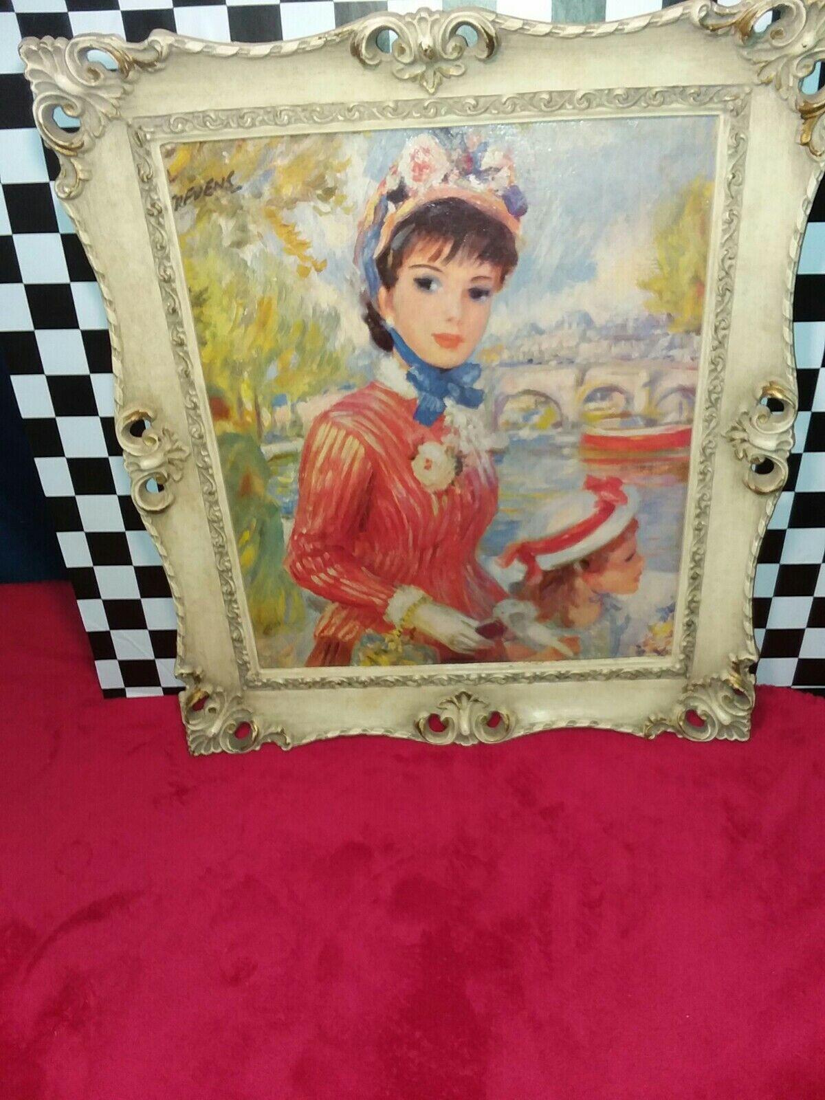 Vintage 1950s John Strevens Impressionist 14X16 Framed Parisian Girl Print  - $35.00