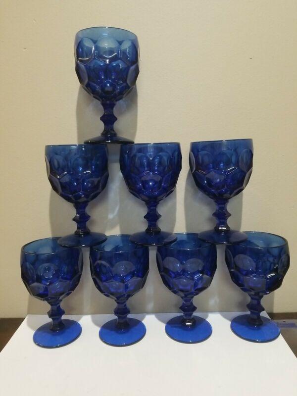 "Vintage 8 Lg. Imperial Glass Co. ""Provincial"" Water Goblets in Cobalt Blue 6.5"""
