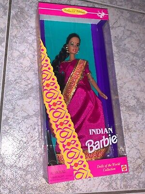 Stored from new vintage 1990s Mattel Barbie Indian Dolls of the World lady girl