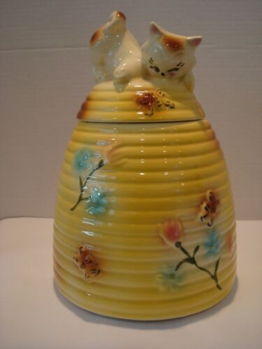 Vintage Cookie Jar Beehive with Kitten and Bees and Flowers - Yellow - USA mark